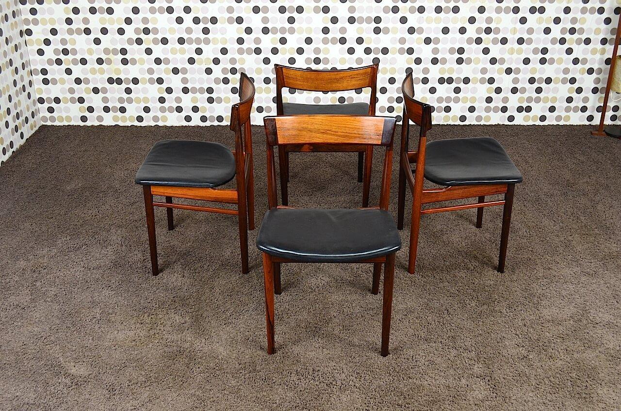4 chaises danoise en palissandre de rio cuir vintage 1964. Black Bedroom Furniture Sets. Home Design Ideas