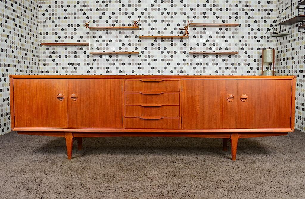enfilade design danoise en teck fristho vintage 1960. Black Bedroom Furniture Sets. Home Design Ideas
