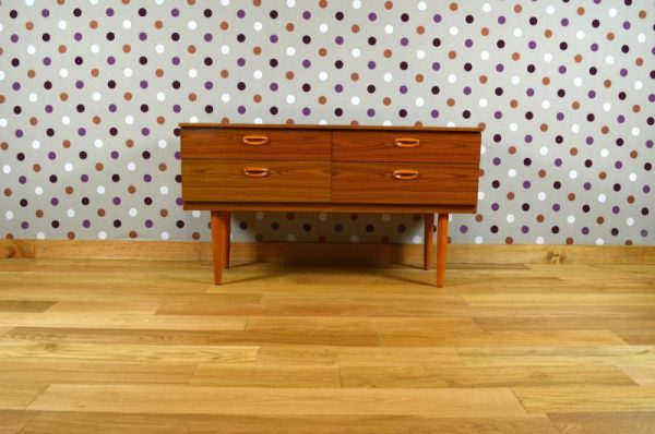 Commode Basse Design Scandinave Style Teck Vintage 1965