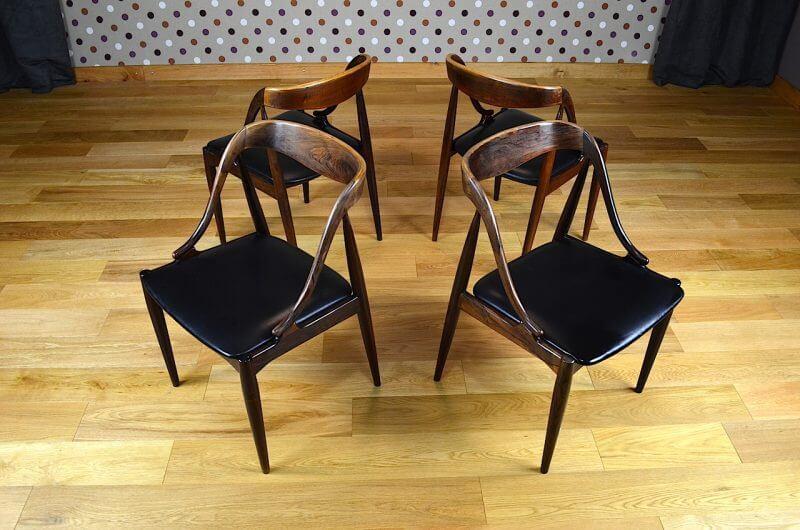 4 chaises danoise en palissandre de rio j andersen vintage 1965. Black Bedroom Furniture Sets. Home Design Ideas