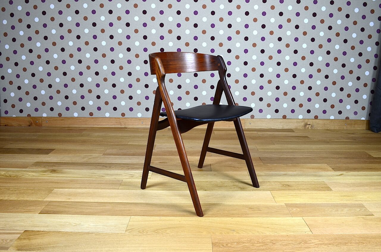 fauteuil chaise de bureau scandinave en teck h kjaernulf vintage 1962. Black Bedroom Furniture Sets. Home Design Ideas