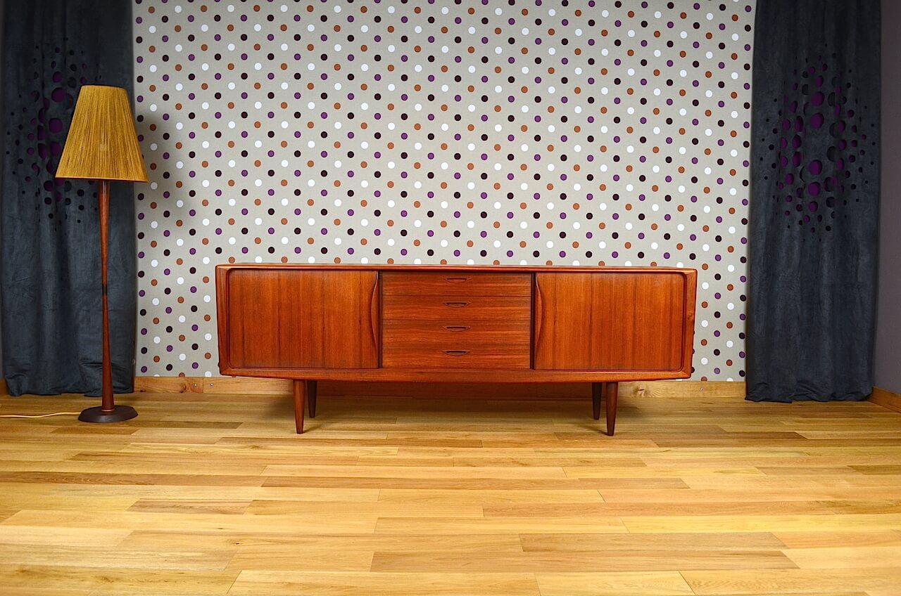 enfilade scandinave en teck h w klein bramin vintage 1964. Black Bedroom Furniture Sets. Home Design Ideas