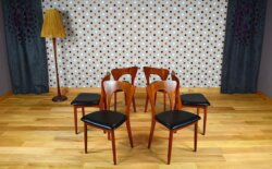 6 Chaises Scandinave en Teck N. Koefoeds Vintage 1965