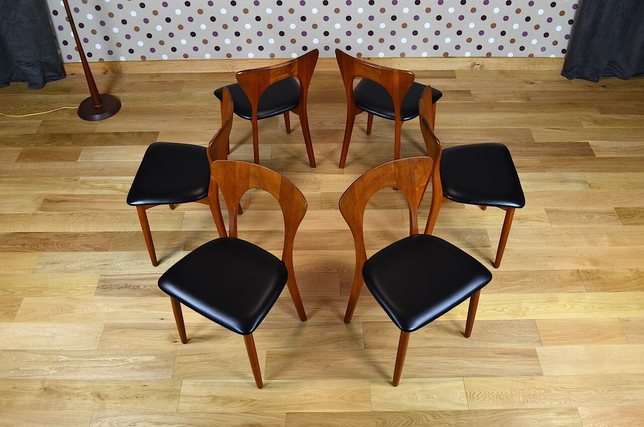 6 chaises scandinave en teck n koefoeds vintage 1965. Black Bedroom Furniture Sets. Home Design Ideas