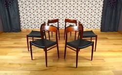 6 Chaises Scandinave en Teck de Niels O Moller Modèle n°75 Vintage 1960