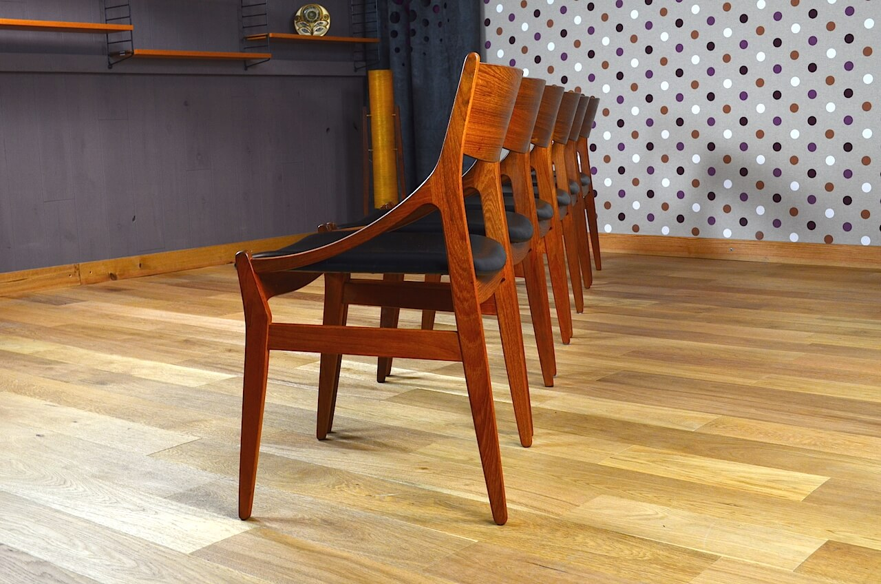 6 chaises design scandinave en teck vestervig eriksen vintage 1960. Black Bedroom Furniture Sets. Home Design Ideas