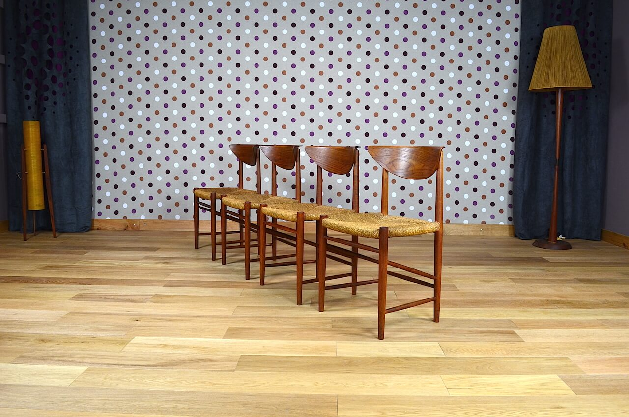 4 Chaises Danoise En Teck Peter Hvidt Vintage 1955 Vendu Design Vintage Avenue