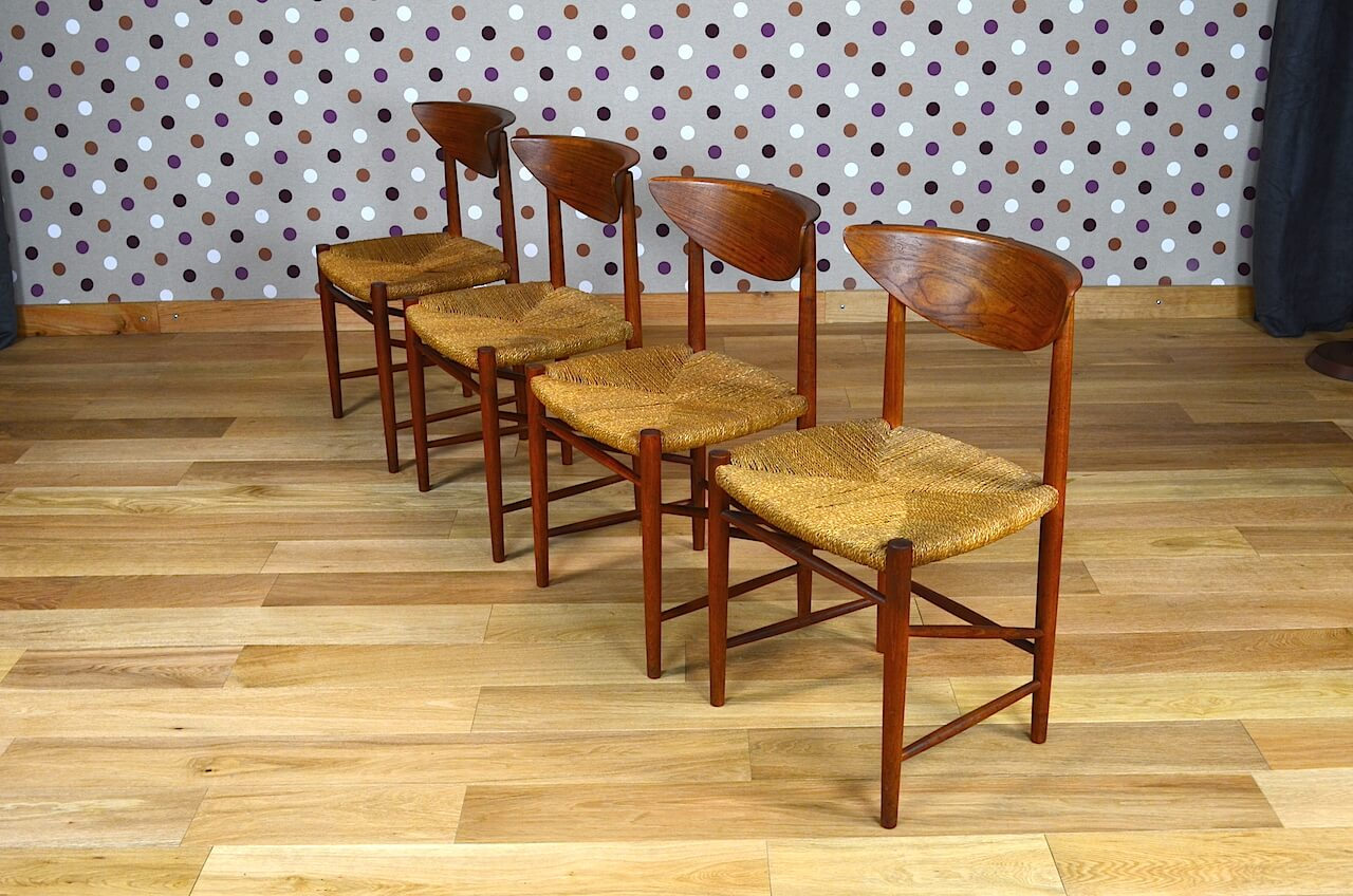 4 chaises danoise en teck peter hvidt vintage 1955. Black Bedroom Furniture Sets. Home Design Ideas