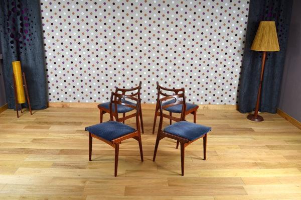 4 Chaises Scandinave en Teck J. Andersen Vintage 1967