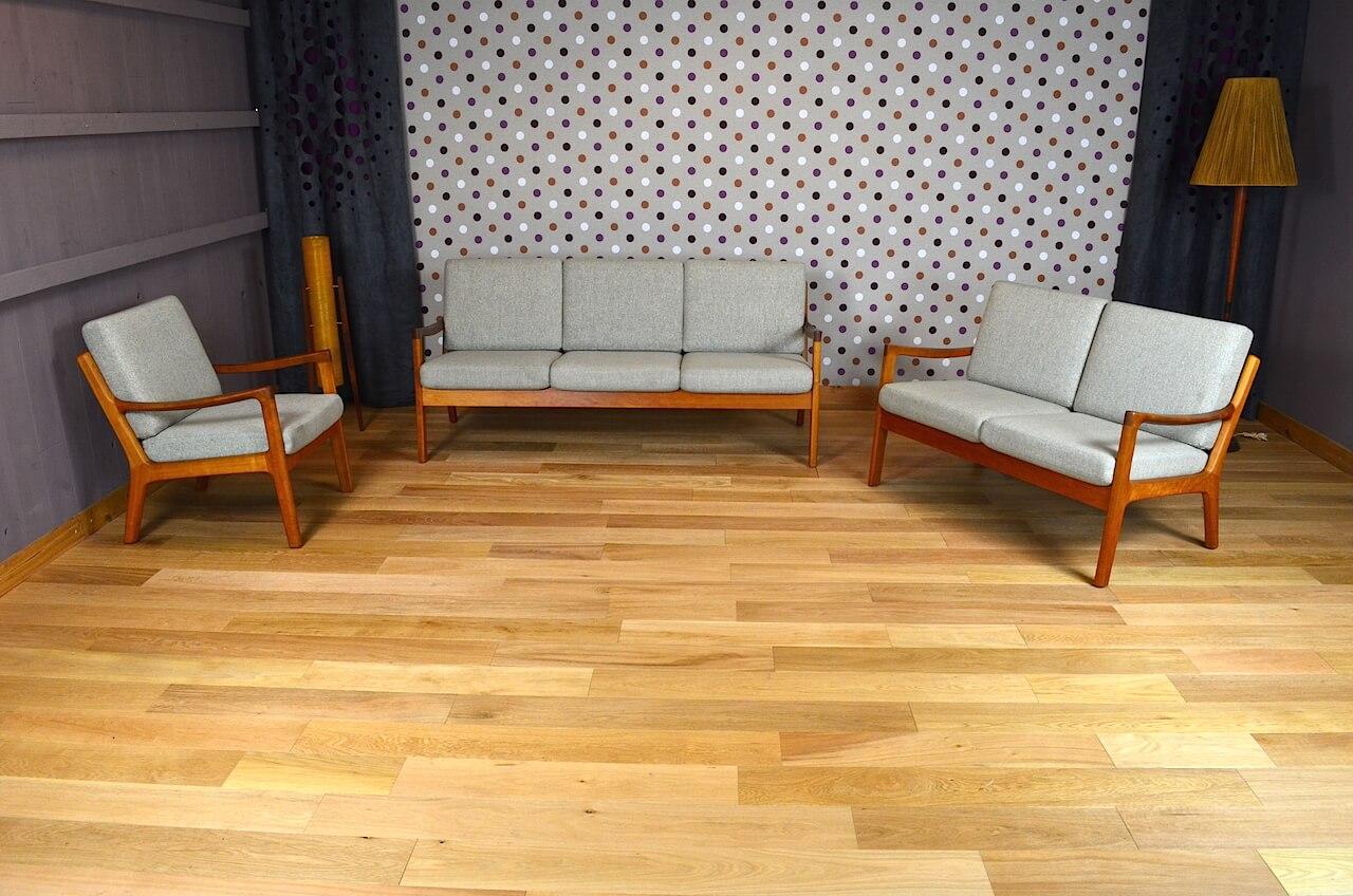 salon design scandinave en teck ole wanscher vintage 1960. Black Bedroom Furniture Sets. Home Design Ideas