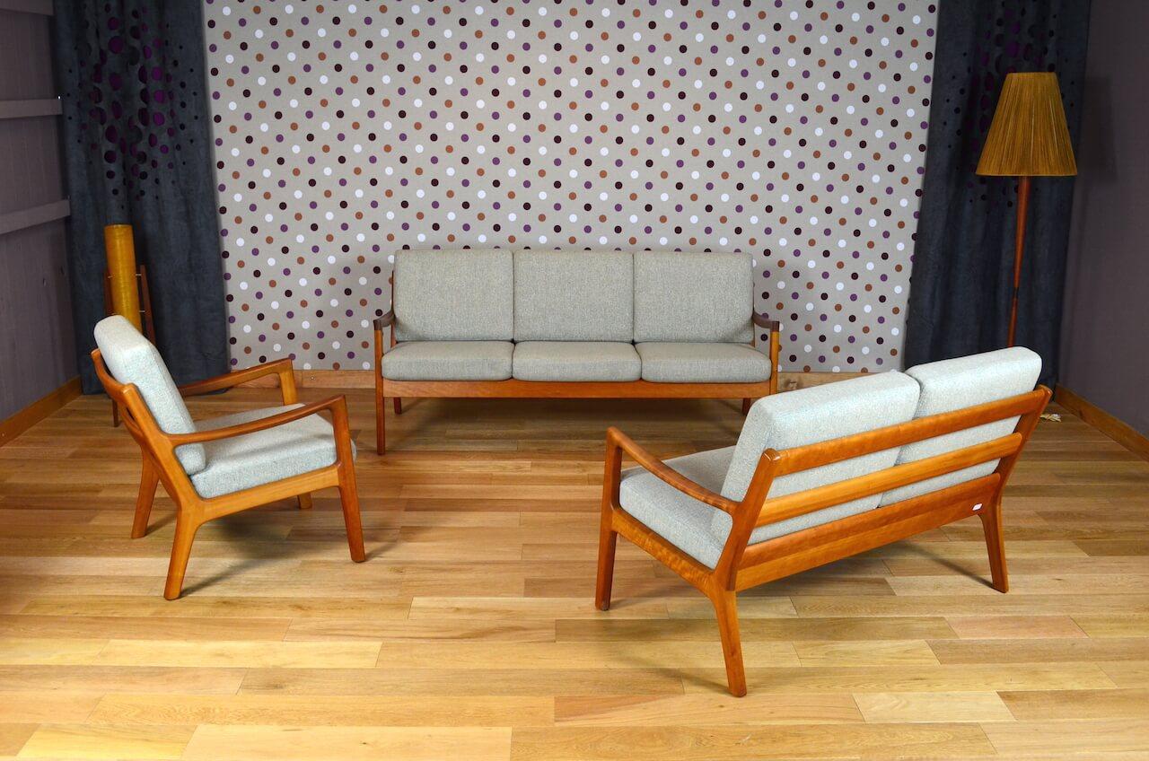 Salon design scandinave en teck ole wanscher vintage 1960 - Salon design scandinave ...