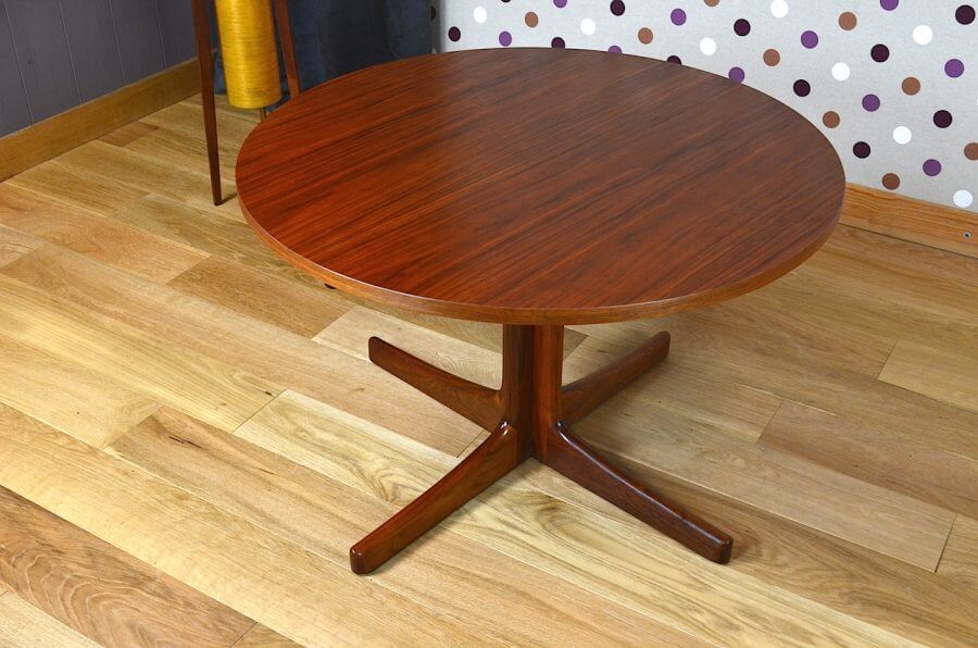 Table basse ronde design scandinave en teck vintage 1960 - Table basse scandinave ronde ...