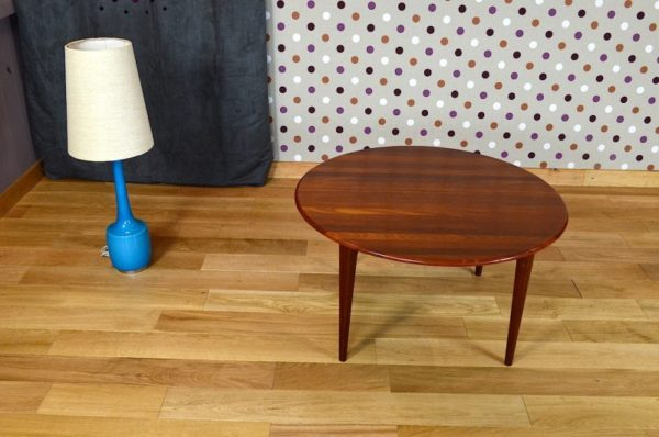 Table Basse Ronde Scandinave en Teck Vintage 1960