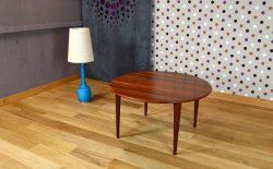 Table Basse Ronde Scandinave en Teck Massif Vintage 1966