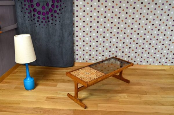 Table Basse Design Scandinave en Teck & Verre Vintage 1960