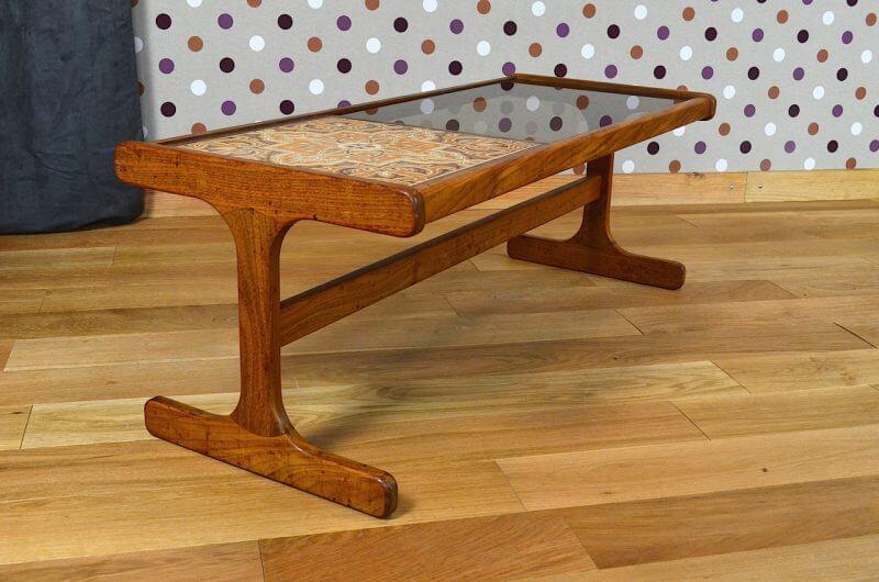 table basse design scandinave en teck verre vintage 1960. Black Bedroom Furniture Sets. Home Design Ideas