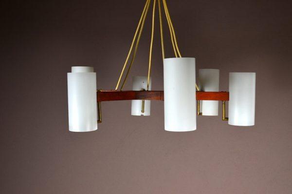 Lustre Design Scandinave en Teck & Verre Vintage Année 1960