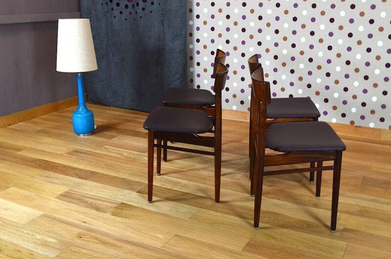 4 chaises danoise en palissandre de rio rosengren hansen vintage 1964. Black Bedroom Furniture Sets. Home Design Ideas
