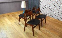 4 Chaises Scandinave en Teck Erik Buck Vintage 1961