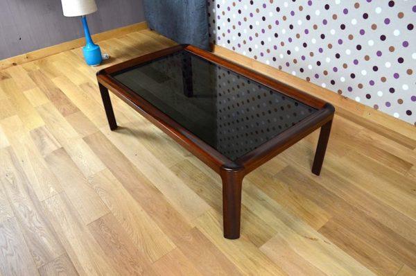 Table Design Scandinave Bois et Verre Vintage 1969