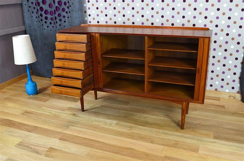 highboard cabinet danois en teck arne vodder sibast vintage 1958. Black Bedroom Furniture Sets. Home Design Ideas