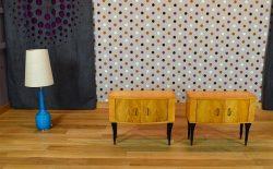Paire de Chevets Design Vintage Rétro en Noyer Blond 1960