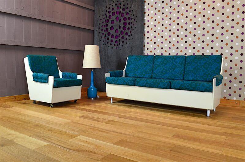salon design banquette et fauteuil vintage 1960 a1156