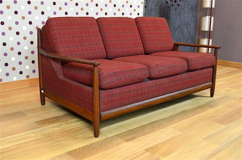 banquette convertible design scandinave en teck vintage 1960. Black Bedroom Furniture Sets. Home Design Ideas