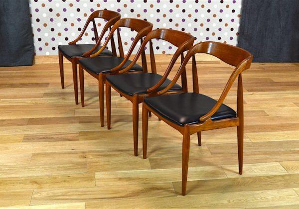 4 Chaises Design Scandinave en Teck J. Andersen Vintage 1965