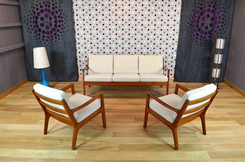 salon danois en teck de ol wanscher pour cado vintage 1960. Black Bedroom Furniture Sets. Home Design Ideas
