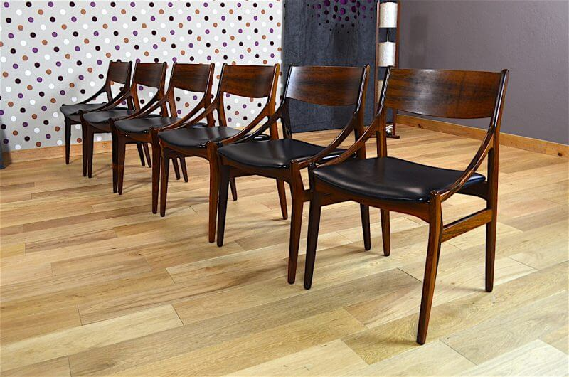 6 chaises danoise en palissandre de rio vestervig eriksen vintage 1960. Black Bedroom Furniture Sets. Home Design Ideas