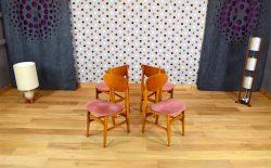4 Chaises Design Vintage en Hêtre Année 1960