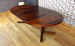 Grande Table Danoise en Palissandre de Rio J. Mortensen Vintage 1960 avec 2 allonges