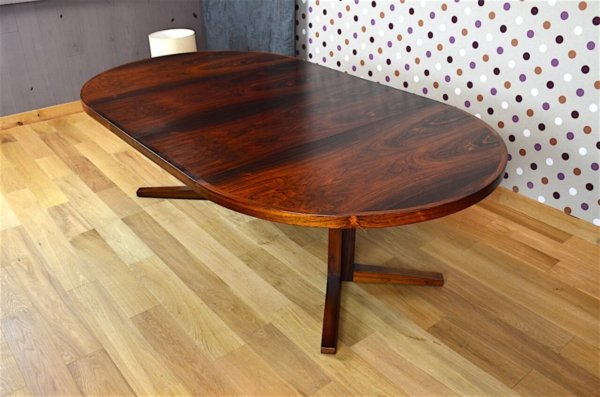 Grande Table Danoise en Palissandre de Rio J. Mortensen Vintage 1960 avec 2 allonges