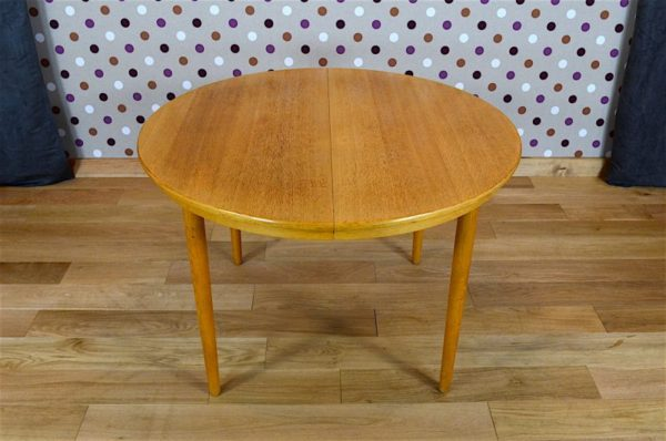 Table Ronde Design Scandinave en Chêne Blond Farstrup Vintage 1960