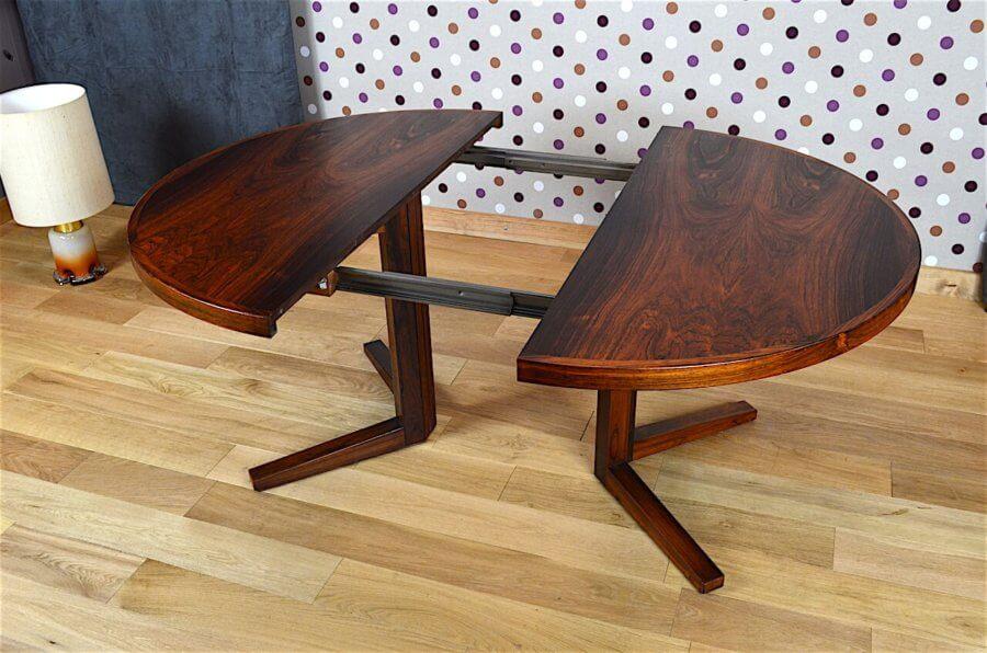 grande table ronde danoise en palissandre de rio j. Black Bedroom Furniture Sets. Home Design Ideas