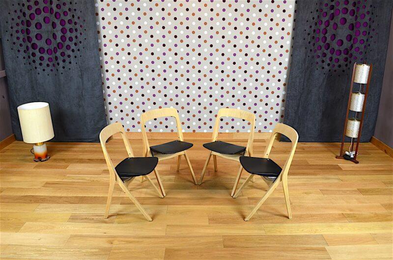4 chaises pliantes design scandinave carl johan boman vintage 1962. Black Bedroom Furniture Sets. Home Design Ideas