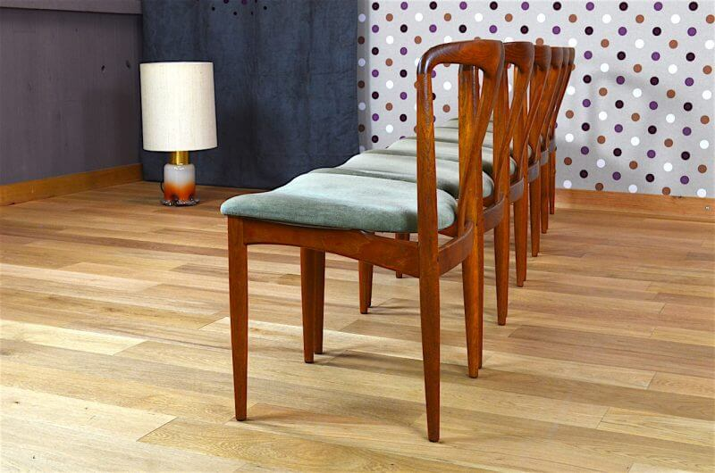 6 chaises danoise en teck juliane j andersen vintage 1960. Black Bedroom Furniture Sets. Home Design Ideas