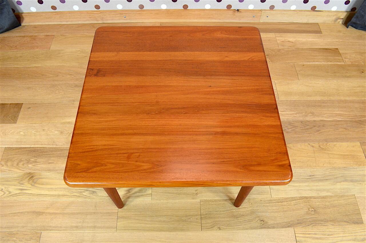 Table basse carr e design scandinave en teck vintage 1965 for Table basse carree scandinave
