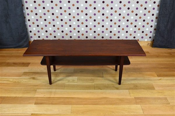 Table Basse Design Scandinave en Teck Samcom Vintage 1960