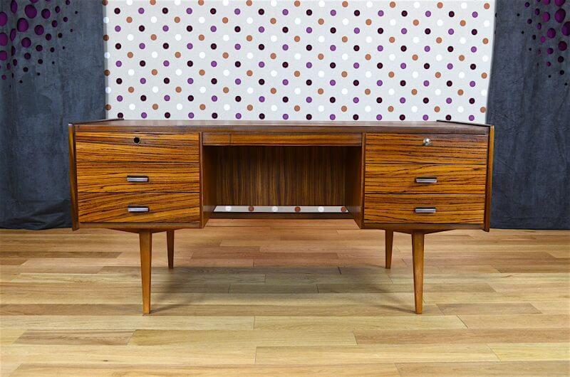 Bureau design scandinave en z brano vintage 1960 for Meuble zebrano