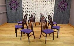 Série 8 Chaises Danoise en Acajou Niels Koefoeds Vintage 1965
