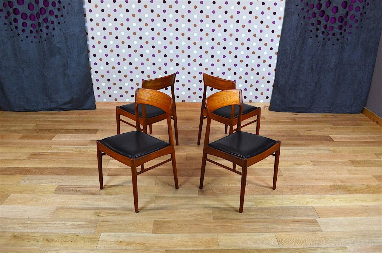 4 chaises design scandinave en teck k s vintage 1960. Black Bedroom Furniture Sets. Home Design Ideas
