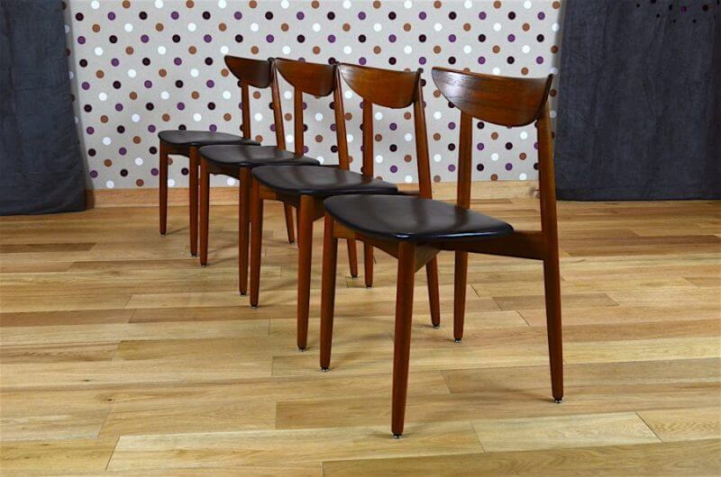 4 chaises danoise en teck harry ostergaard vintage 1960. Black Bedroom Furniture Sets. Home Design Ideas