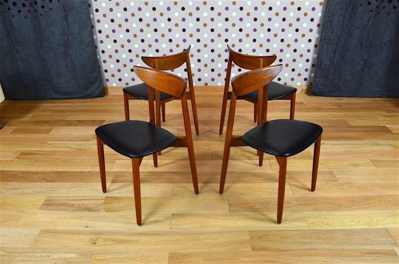4 chaises danoise en teck harry ostergaard vintage 1960. Black Bedroom Furniture Sets. Home Design Ideas