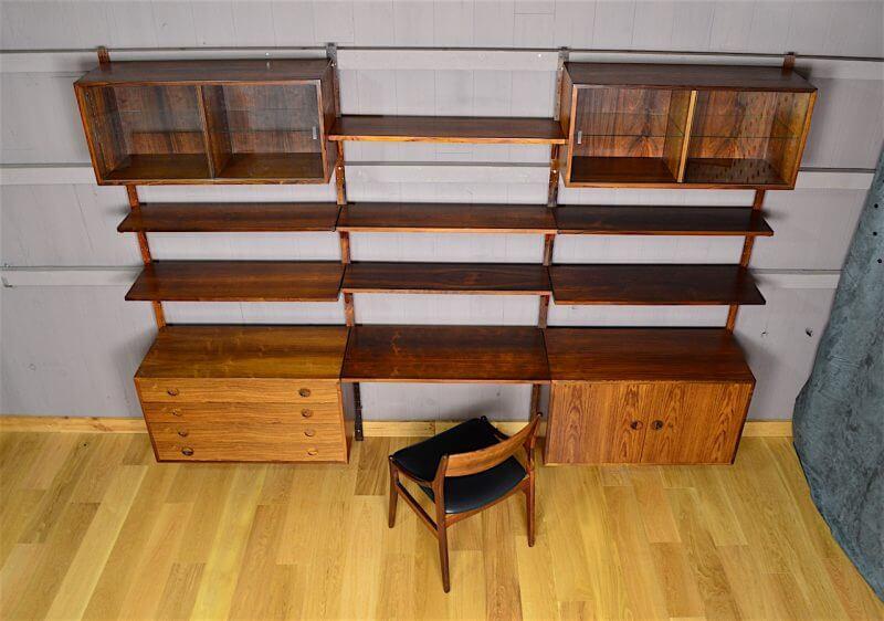 syst me mural danois en palissandre de rio hg mobler vintage 1960. Black Bedroom Furniture Sets. Home Design Ideas
