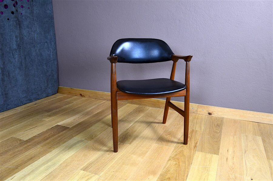 fauteuil de bureau design scandinave en teck vintage 1960 vendu. Black Bedroom Furniture Sets. Home Design Ideas