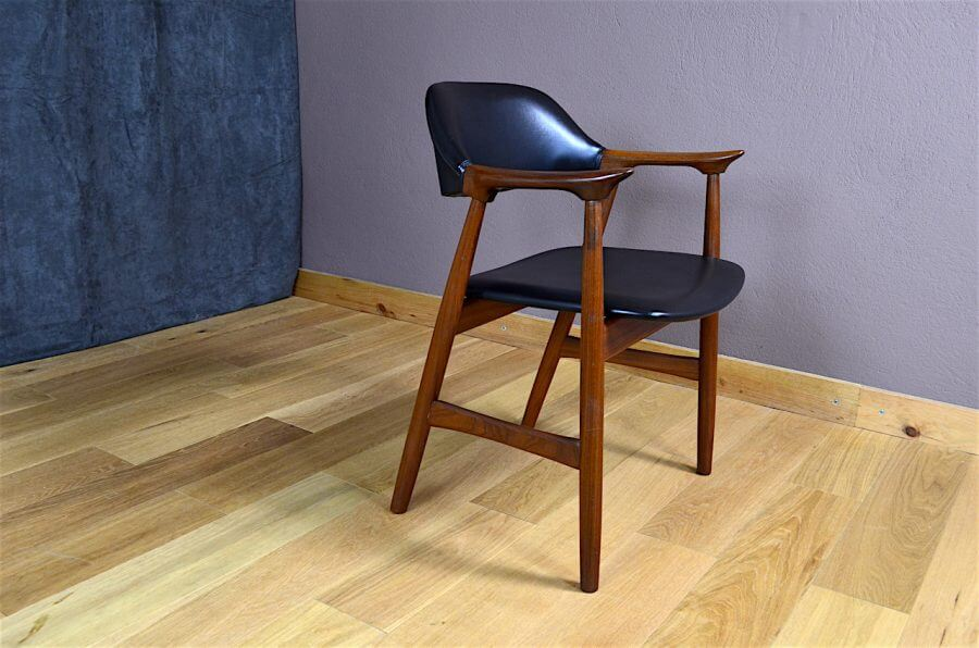 fauteuil de bureau design scandinave en teck vintage 1960. Black Bedroom Furniture Sets. Home Design Ideas