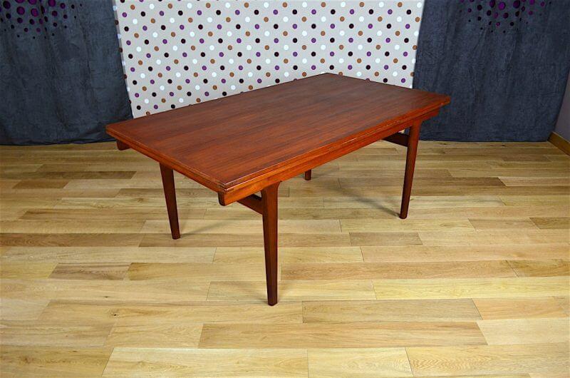 Grande table scandinave en teck vintage h kjaernulf 1965 for Grande table scandinave