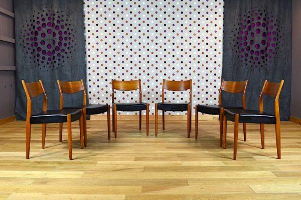 6 Chaises Design Scandinave en Teck Vintage 1968